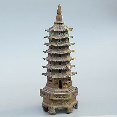 Collectable China Old Bronze Hand-Carved Moral Exorcism Pagoda Decorate Statue