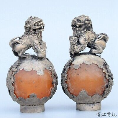 Collect China Old Miao Silver Armour Agate Carve Lion Bring Luck A Pair Statue