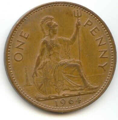 UK 1964 Bronze Penny (95.5% Copper) Pence Great Britain --- EXACT COIN SHOWN