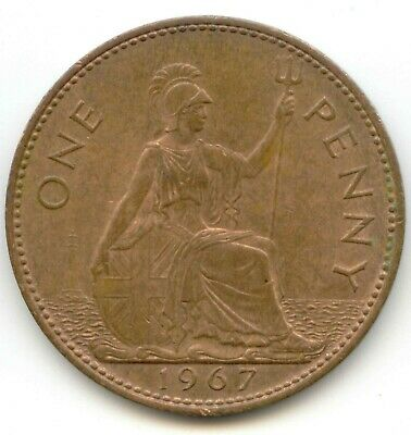 UK 1967 Bronze Penny (95.5% Copper) Pence Great Britain -- EXACT COIN SHOWN