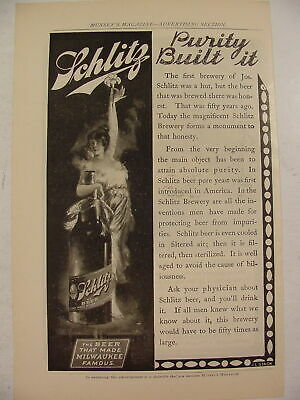 1900 Schlitz Beer Purity Built It Print Ad J.L. Stack Beer That Made Milwaukee
