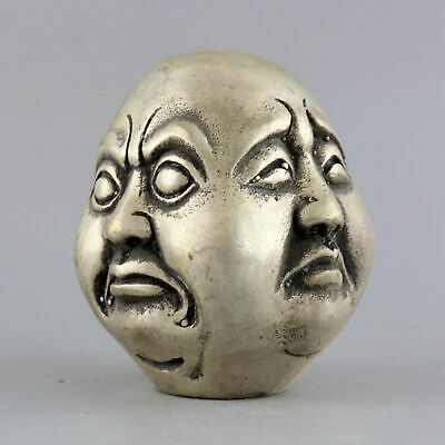 Collect China Old Miao Silver Hand-Carved 4 Face Buddha Head Auspicious Statue