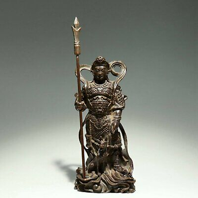 Collectable China Old Red Copper Hand-Carved Door-God Moral Bring Luck Statue