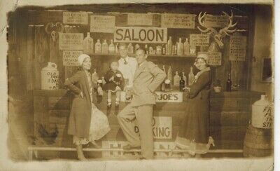 RPPC Man Two Flapper Era Women & a Child @ Old Time Saloon with Hilarious Signs
