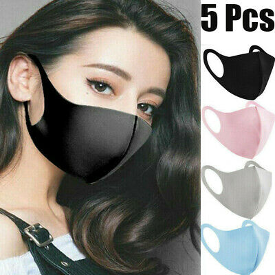 5PACKS Washable Face Cover Adult/Kid Breathable Fashion Reusable Mouth Muffle