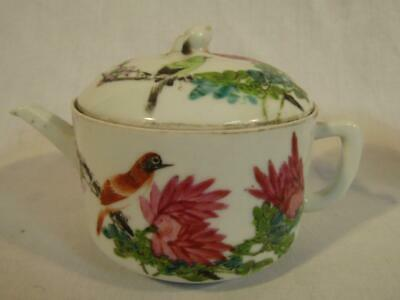 Small Antique Chinese Ceramic Covered Teapot With Birds - Signed