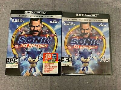 Sonic The Hedgehog (4K Ultra HD + Blu Ray + Digital) Brand New with Slipcover