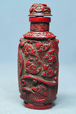 Decorative Handwork Coral Carved Leaves Pattern Precious Beautiful Snuff Bottles