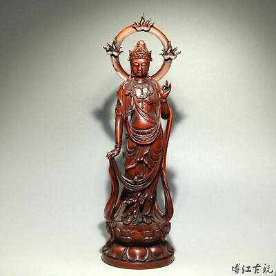 Collectable China Old Boxwood Hand-Carve Buddhism Kwan-Yin Moral Exorcism Statue
