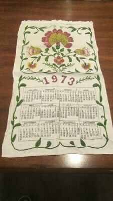 Kitchen Calendar Towel, Floral, Calendar, 1973, Cotton