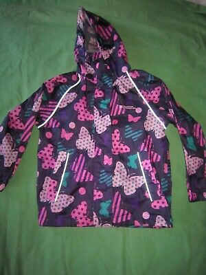 VGC Butterfly Pink Girl Kid Waterproof Mac Raincoat Hooded Hood Jacket 5-6 Years