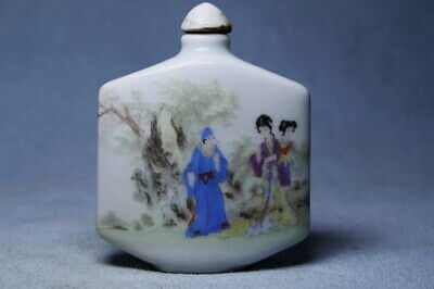 Collectable Porcelain Painting Beautiful Woman Auspicious Elegant Snuff Bottles