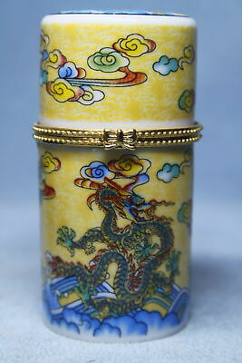 Collectable Exquisite Porcelain Painting Dragon Elegant Auspicious Toothpick Box