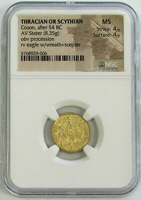 54 Bc. Gold Ancient Thracian / Scythian Stater Coson Coin Ngc About Unc 4/4