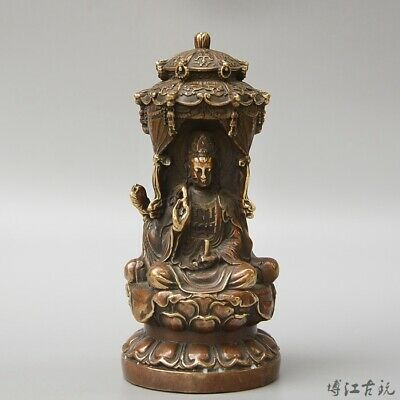 Collectable China Old Bronze Hand-Carved Three Sides Kwan-Yin Exorcism Statue