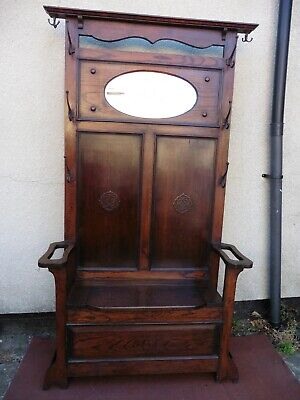 ANTIQUE EDWARDIAN OAK HALL STAND, HALL SEAT STORAGE, MIRROR AND HOOKS, 1900 /30s
