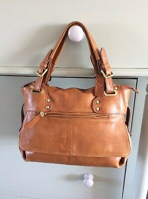 "Truly Gorgeous ""PIA"" Butter-soft Genuine Leather Tan Grab Bag In Very Good Con.."