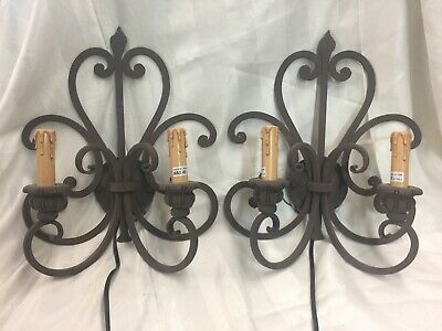 Wrought Iron Wall Sconces A Pair Mission Style
