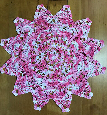 Decorative Varigated Pink Hand Crocheted  Doily