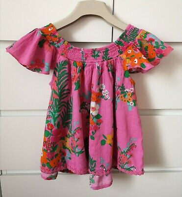 NEXT___pink floral summer top girl age 8 yrs VGC