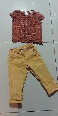 Next Girls Summer Outfit 100% cotton Brown mustard trousers. Age 3yrs