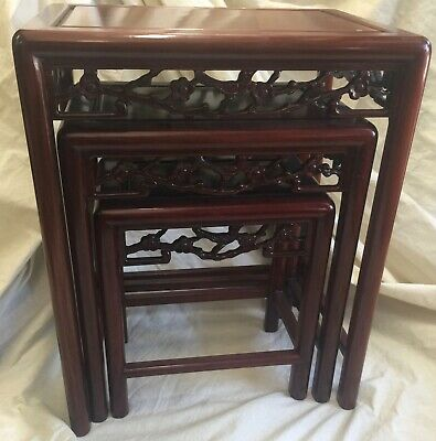 Carved Asian  Nesting Tables Set of 3 Rosewood