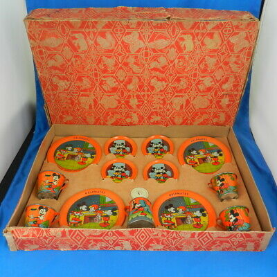 Vintage Ohio Art HELPMATES LITHO TIN DISH SET Walt Disney 1930s   *RARE IN BOX*