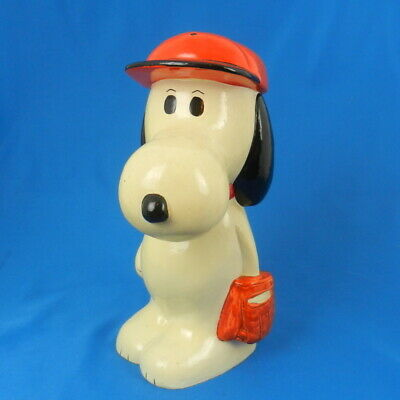 Vintage Peanuts SNOOPY BASEBALL Composition Coin Bank Charlie Brown's Dog Figure