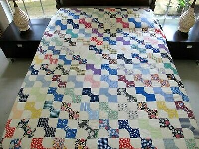 "Vintage Hand Pieced & Quilted Cotton Some Feed Sacks BOW TIE Quilt; 84"" x 74"""