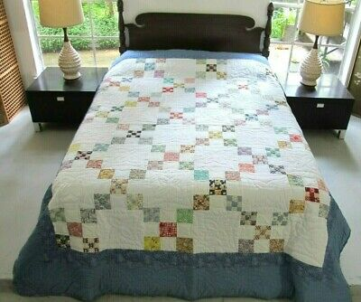 QUEEN Vintage 50's Feed Sack DOUBLE NINE PATCH Quilt, Known Quilter, Provenance