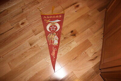 """1910's? AAONMS Allepo fraternal 33"""" vertical soft felt color pennant"""