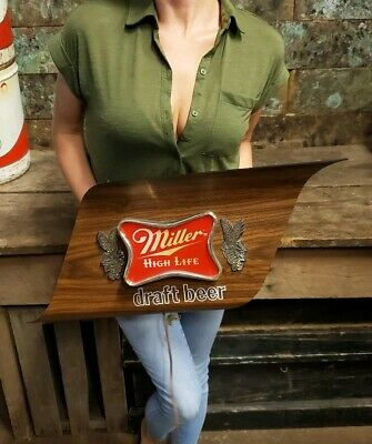 Vintage Miller High Life Beer Advertising Sign Lighted Draft Beer 1970's Retro