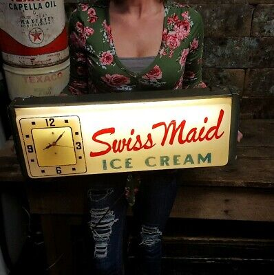 Vintage Swiss Maid Ice Cream Electric Wall Clock Diary Advertising Sign