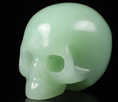 """1.8"""" GREEN AVENTURINE Carved Crystal Skull Without Jaw, Crystal Healing"""