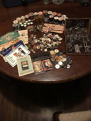 Sewing Lot Vintage Spools Of Thread, Needle Packs, Machine Attachments, Buttons