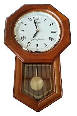 Seiko Solid Oak Case Westminster/Whittington Pendulum Chime Wall Clock/Working