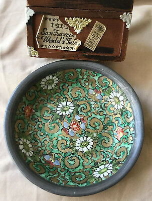 VTG Antique Asian Hand Painted Porcelain Ashtray W/pewter decorated Hong Kong