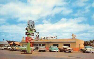 Eastland TX White Elephant Restaurant Drive-In Restaurant Old Cars Postcard