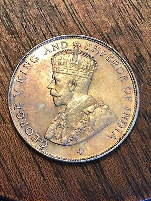 Straits Settlements 50 Cents, Half Dollar 1921 Silver Coin, Toning  UNC KM#35.1