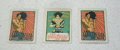 3 Poster Stamps - The Electrical Exposition of 1912 - NY Grand Central Palace