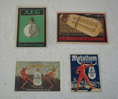 4 Foreign Poster Stamps Advertising Electric Light Bulbs