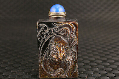 chinese yak horn hand carved buddha bat statue snuff bottle collect copper lid