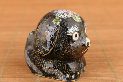 Chinese black cloisonne hand cast black dog statue collect table Decoration