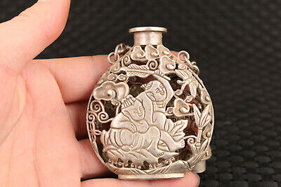 Chinese tibet silver hand carved favorite snuff bottle pendant