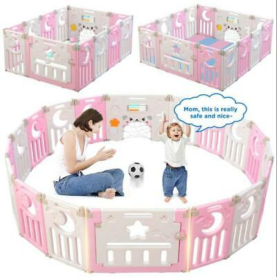 Baby Playpen Plastic Foldable Kids Safety Play Yard L Panel with Door Playhouse