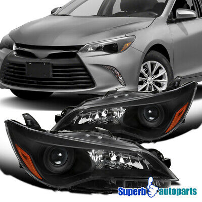 For 2015-2017 Toyota Camry Black Projector Headlights Head Lamps Left+Right