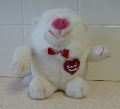 """Vintage """"King Of Hearts"""" White Plush Gorilla Toy - Special Effects / Mighty Star"""