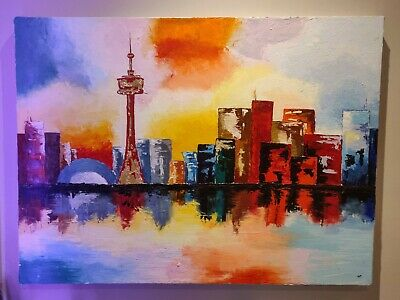 TORONTO Skyline Bright Abstract Urban Art | Acrylic & Oil paint & gold touches