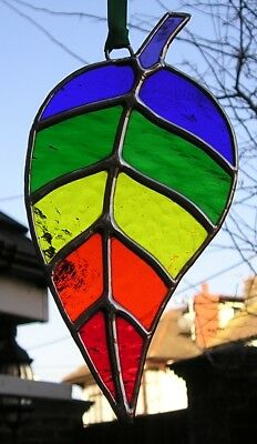 Stained Glass Rainbow Leaf Suncatcher, Handmade in England