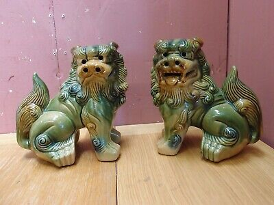 Pair Vintage Chinese Asian Ceramic Foo Dragon Dogs Symbolic Protective Statues